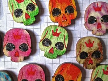 Pack of 12 Wood Skull  24mm x 20mm Buttons Day of the Dead Sugar Skull Embellishments